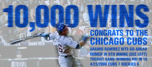Cubs 10,000 wins