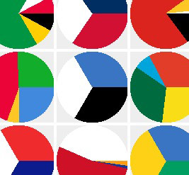 flags colors in pie chart form