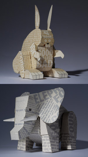 paper bunny and paper elephant