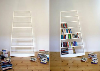 Topple bookshelf by Julian Appelius