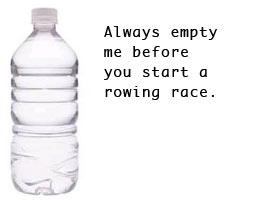 rowing and water bottles