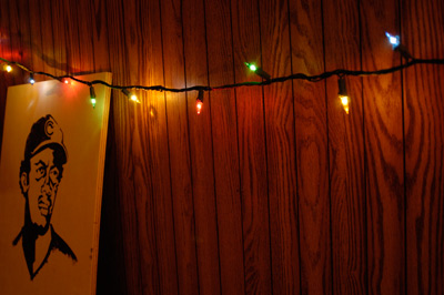 wood paneling and colored lights