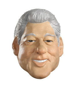 Clinton wearing Clinton mask