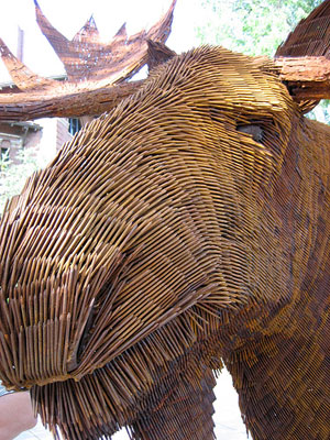 moose sculpture made from nails