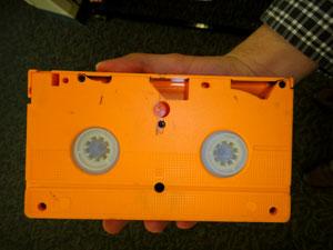 orange vhs cassette